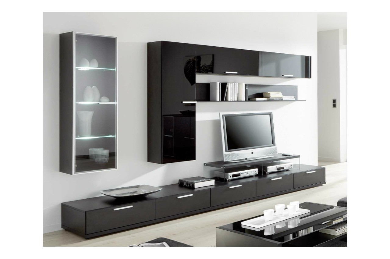 Good meuble tv vitre noir mueble a medida moderno con for Meuble bas tv ikea